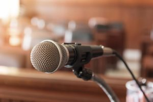 courtroom litigation microphone