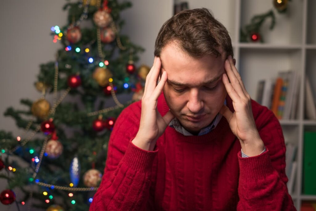 Man Stress about Relationships during Christmas Holidays