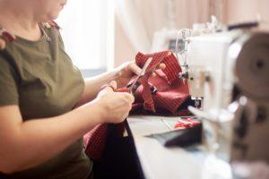 Woman Sewing Machine Scissors